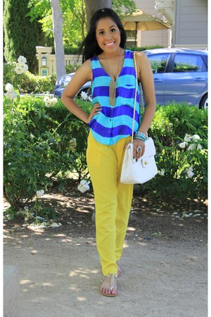 blouse - white-quilted bag - pants - gold t-strap sandals - gold fringe necklace