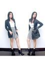 Gray-topshop-cardigan-black-charles-keith-boots-gray-american-apparel-skir