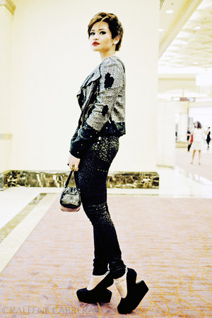 black leopard print Hot Topic jeans - black sequined Topshop blazer - black Liz