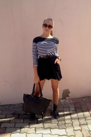 blouse - boots - dress - bag - sunglasses - belt