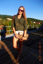 tan bag - olive green New Yorker shirt - white denim shorts - sunglasses