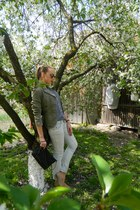periwinkle jeans - dark khaki no brand blazer - shirt - black spikes bag