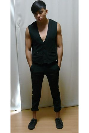 black Armani Exchange vest - black grey hound pants - black Zara shoes