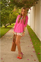 Zara shorts - hot pink Zara shirt - tory burch bag - JCrew bracelet - Zara heels