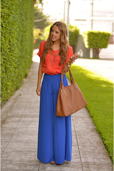 brown tory burch bag - blue palazzo pants ACCENTO pants