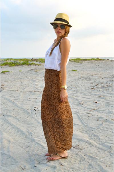 animal print skirt - Zara blouse - Michael Kors watch