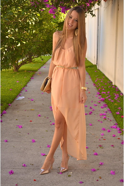 Michael Kors watch - peach Zara dress - tory burch bag - Stradivarius heels
