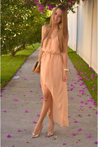 Michael Kors watch - peach Zara dress - tory burch bag - Stradivarius heels
