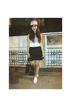 black studded bag - heather gray hat - black romwe skirt
