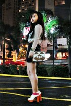 white Nava heels - tan SSB bag - black hws DIY skirt - ivory Forever21 top