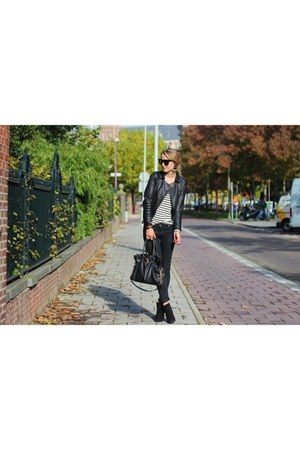 black Zara jacket - black Michael Kors bag - white StyleMint top