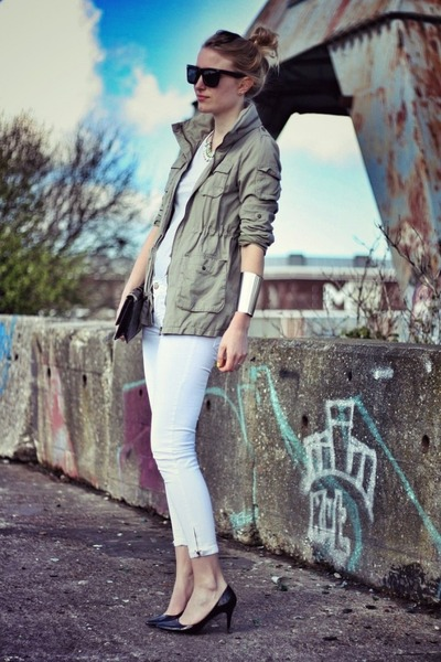 army green H&amp;M jacket - white Zara jeans - black H&amp;M Trend heels