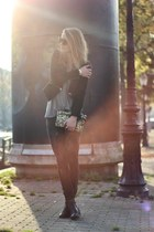 black Zara blazer - dark gray Mango jeans - dark khaki Zara bag