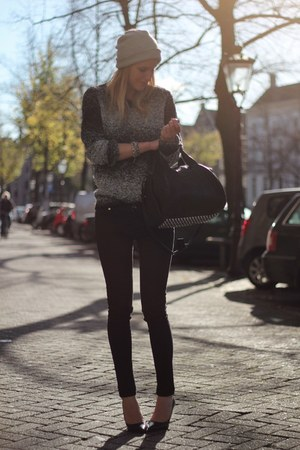 black Alexander Wang bag - charcoal gray H&M Trend sweater - black Zara pants
