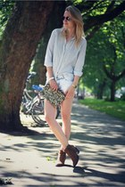 white Zara shirt - light blue Bershka shorts