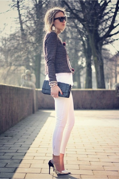 silver Zara heels - brick red maison scotch jacket - white Zara pants
