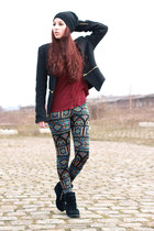 black Primark hat - black zipper Sheinside jacket - brick red Primark blouse