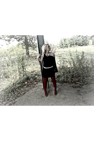 black Bebe dress - red tights - blue Forever 21 top - black Charlotte Russe shoe