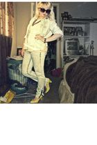 yellow Forever21 shoes - white vintage blouse - blue vintage shirt - white Forev