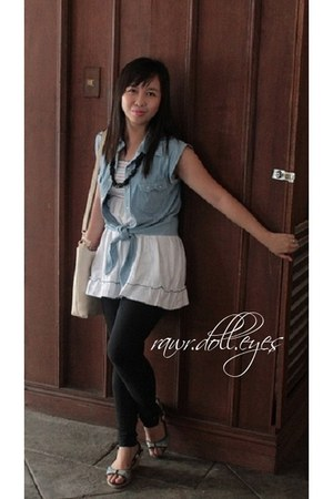 sky blue denim vest true love top - white Cottion On top