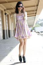 purple modcloth dress - black Burberry boots - gold Beth Bowley cardigan - black