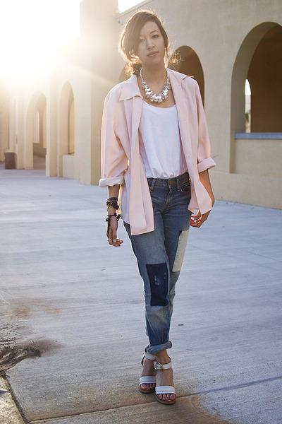 pink vintage blazer - white Erin x RVCA top - blue Gap jeans - white Chloe shoes