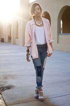 pink vintage blazer - white Erin x RVCA top - blue Gap jeans - white Chloe shoes