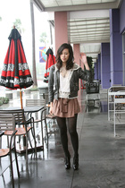 pink alex lane shorts - black Burberry boots - gray Urban Outfitters jacket - wh