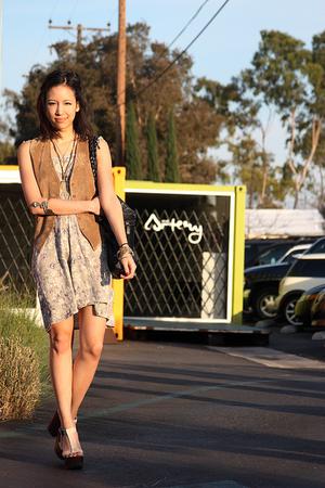 green ba&sh dress - brown vintage vest - black Barneys New York purse - beige Gi