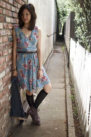 blue Secondhand dress - blue superfine vest - brown seychelles boots - black Urb