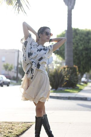 beige vintage shirt - beige shopruchecom dress - black Jeffrey Campbell boots
