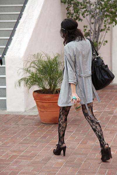black Urban Outfitters tights - brown Derek Lam shoes - gray MM6 by Martin Margi