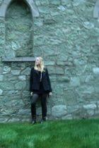 black Forever XXI dress - H&M tights - gray American Eagle coat - brown Old Navy
