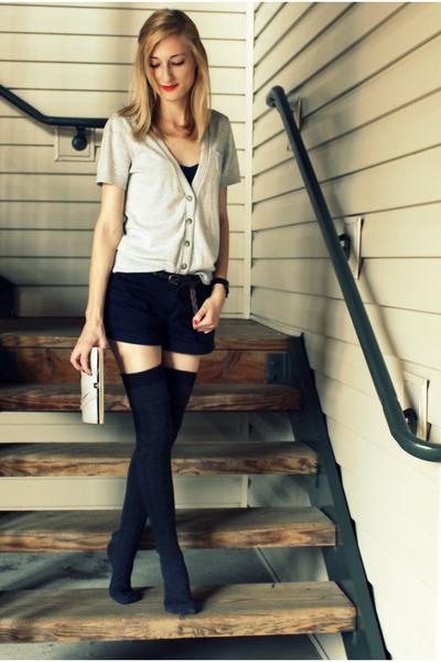 blue Forever XXI shorts - gray thigh high Target socks