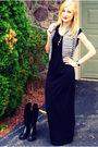 Gray-delias-vest-black-h-m-dress-black-aldo-shoes