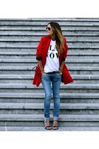red Choies coat - white asos t-shirt