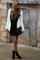 white Zara blazer - Zara boots - Queens Wardrobe dress