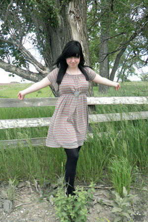 pink dress - black tights - pink Kimichi Blue shoes - silver necklace