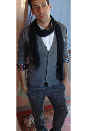 ovs scarf - H&amp;M by MW shirt - H&amp;M sweater - Zara belt - Messagerie pants