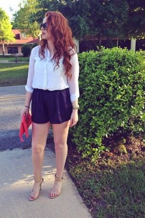 coral Steve Madden bag - navy Forever 21 shorts - white Forever 21 blouse