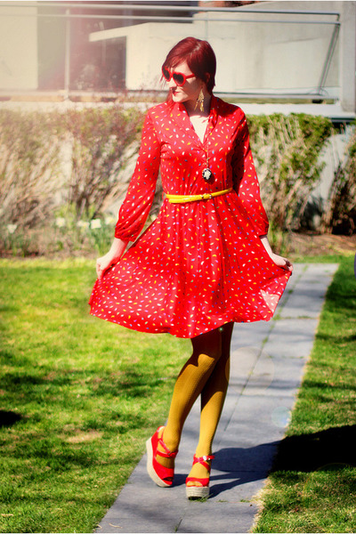 ruby red vintage dress