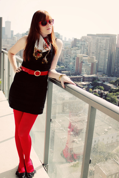black vintage dress - red American Apparel tights - black payless shoes - red vi