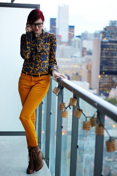 navy asos blouse - tawny Forever 21 boots - mustard asos pants