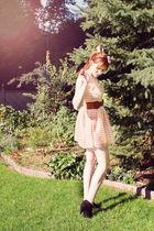 pink H&M dress - brown Ardene belt - pink Ardene hat - pink vintage accessories
