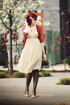 neutral Vinatge dress - mustard asoscom tights