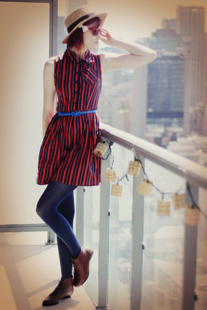 navy nylon We Love Colora tights - burnt orange button up asos dress