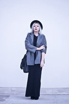 black deezee boots - heather gray second hand coat - black DIY skirt