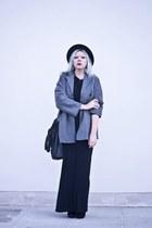 black deezee boots - heather gray second hand coat - black DIY skirt