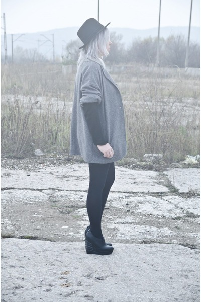 black Zara blouse - charcoal gray second hand coat - black Centro wedges