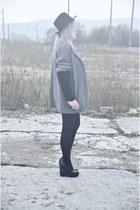 black Zara blouse - charcoal gray second hand coat - black Centro wedges